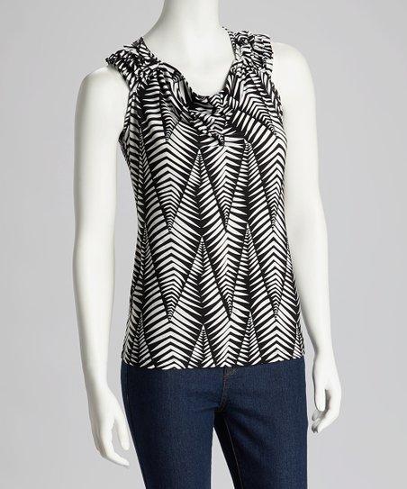 832d7f96ac487a JNS Fashions Black   White Stripe Leaf Sleeveless Top - Women