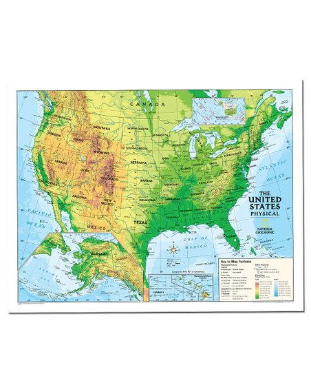 National Geographic Physical USA Kids Laminated Topographical Map ...