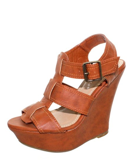 153044679 Fashion Focus Cognac Rita Wedge Sandal | Zulily