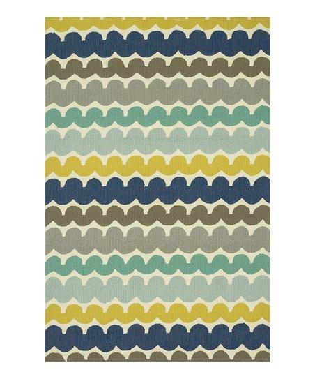 Blue Yellow Stripe Ventura Indoor Outdoor Rug Zulily