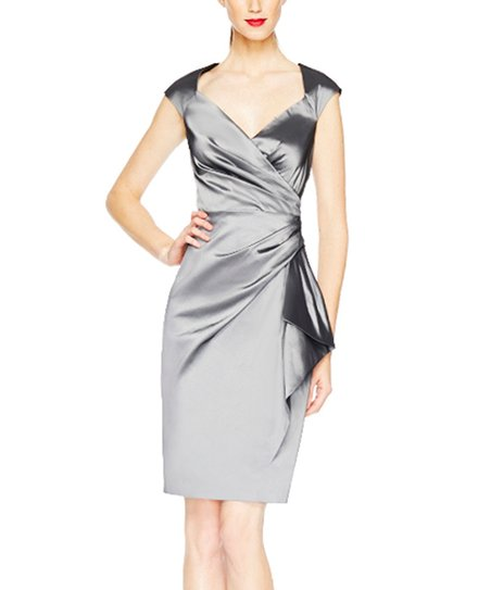 Steel Taffeta Wrap Dress Women