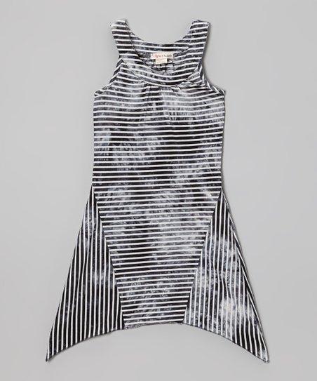 2d0057948281 Ragdoll & Rockets Marble Black Tie-Dye Stripe Yoke Dress - Girls ...