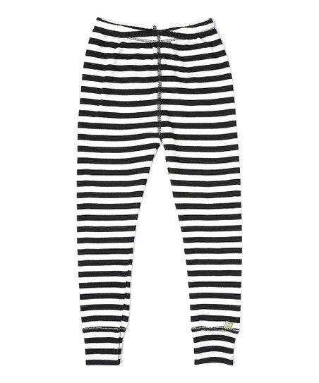 6c9ce65603 Nui Organics Black Stripe Organic Wool Thermal Leggings - Kids | Zulily