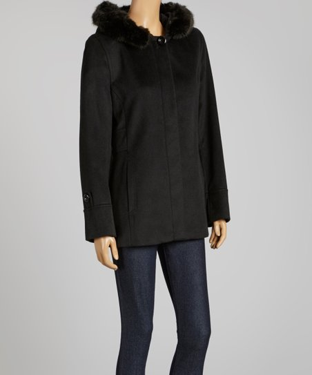 0e3b4d44f88 Forecaster of Boston Black Faux Fur Hooded Wool-Blend Coat - Women ...