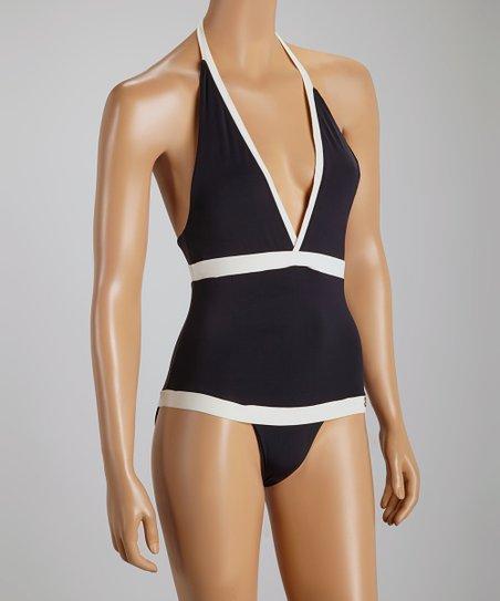1277865151 Sauipe Swimwear Black & Cream Madison One-Piece | Zulily