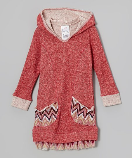 8d8e87f0eaf Freckles + Kitty Red Zigzag Hooded Sweater Dress - Toddler