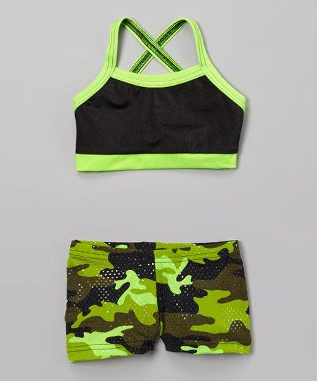 3e40de2a1d5f7 love this product Black   Lime Green Sports Bra   Camo Shorts - Girls
