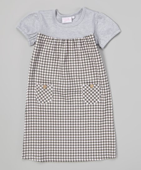967709bcd Modest Boutique Gray Gingham Pocket Shift Dress - Girls | Zulily