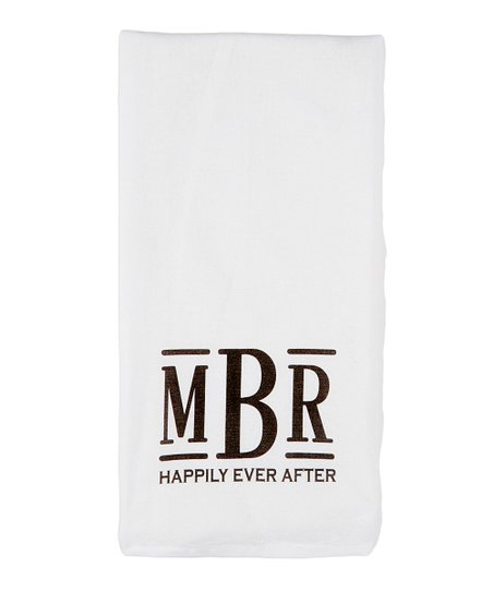 Initial Request White & Brown \'Happily Ever After\' Monogram Kitchen Towel