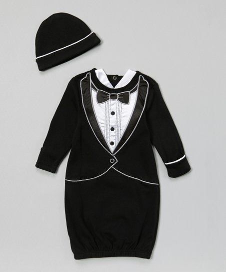 Stephan Baby Black & White Tuxedo Gown & Beanie - Infant