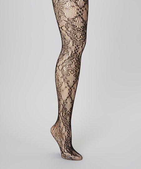 d8d6c6945ac2a Valentina Shapewear Black Floral Lace Tights - Women | Zulily