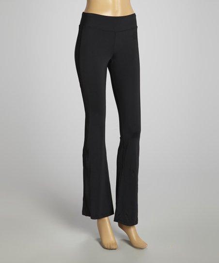 283bd3aa56b4a FILA Black Wide Waistband Bootcut Yoga Pants | Zulily