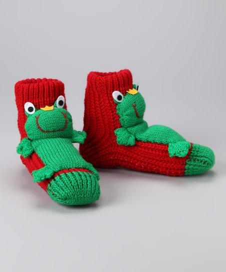 Crazy Sox Red Frog Slipper Socks   Best