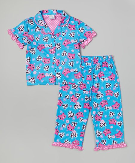0037f51b8 Candlesticks Turquoise Kitty Button-Up Pajama Set - Toddler   Girls ...
