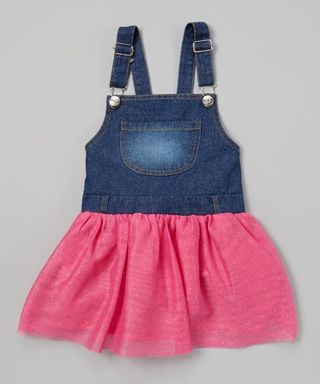 cf08c9c9a3 Frills du Jour Fuchsia Tutu Denim Overall Dress - Girls