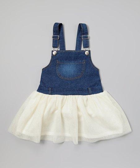 20547ba55c Frills du Jour Ivory Tutu Denim Overall Dress - Girls