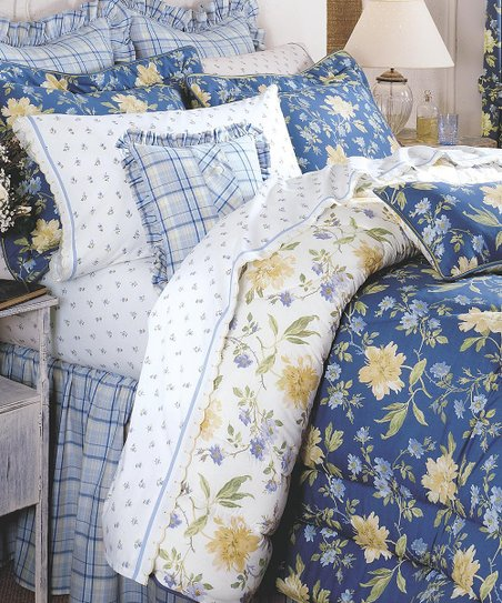 Piece Reversible Cotton Comforter Set, Laura Ashley Bedding Blue And Yellow