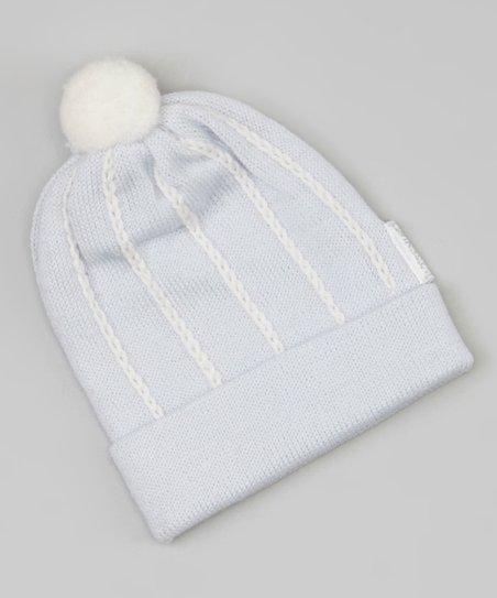 6b2212b672e15 Il Trenino Light Blue   White Stripe Pom-Pom Wool Beanie