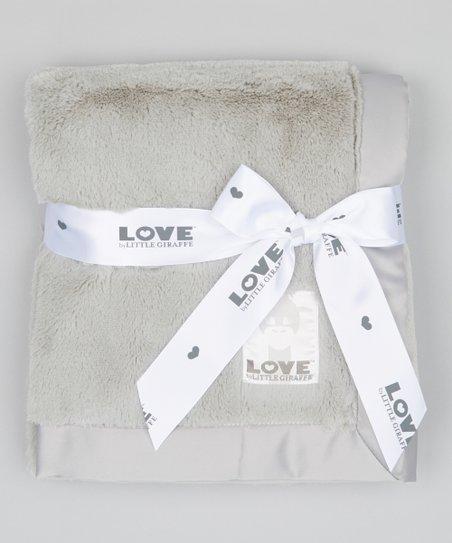 LOVE by Little Giraffe 30'' x 36'' Silver Posh Satin Baby Blanket