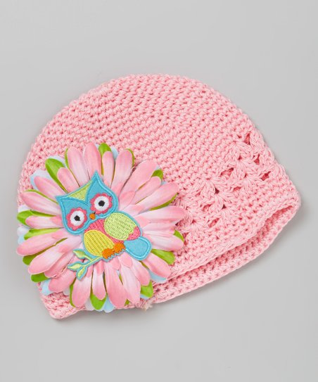 56dc12be27fc5 Dress Up Dreams Boutique Light Pink   Teal Owl Crocheted Beanie