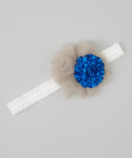 Fab Flowerishes Gray   Royal Blue Flower Headband  679bb5e45e2