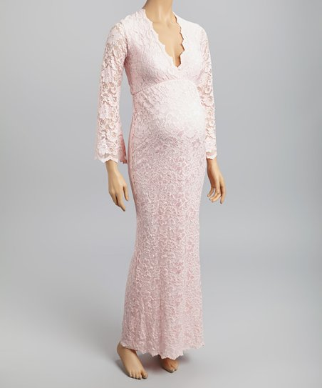 Pink Lace Maternity Maxi Dresses