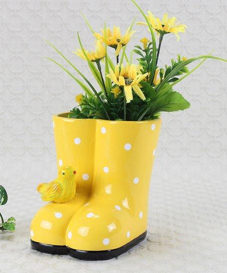 Yellow Rain Boot Planter Zulily