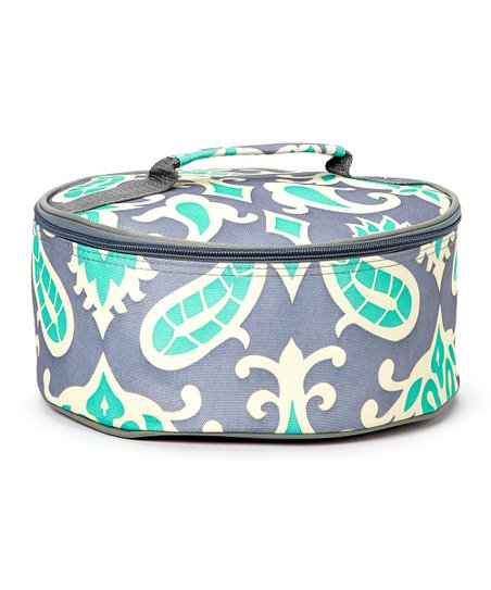 Expect Personality Turquoise & Gray Round Insulated Casserole Carrier