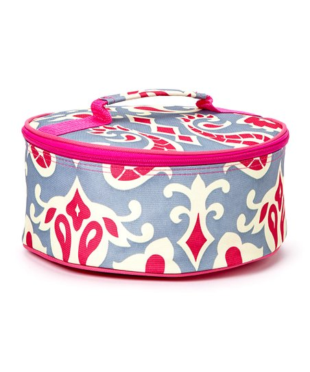 Expect Personality Gray & Pink Round Insulated Casserole Carrier