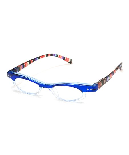 162b34ddb A.J. Morgan Blue Stripe Kitschy Readers | Zulily