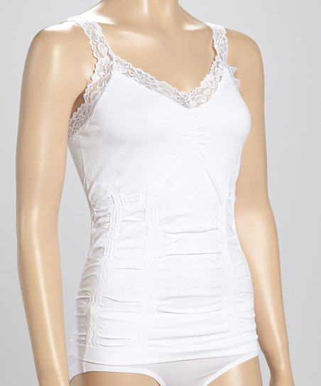 ac6cad12931 love this product White Lace-Trim Ruched Camisole - Plus