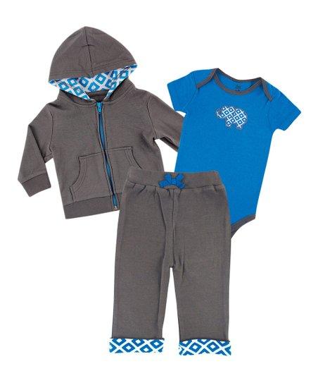 2c82039a8 Luvable Friends Blue   Gray Elephant Hoodie Set - Newborn   Infant ...