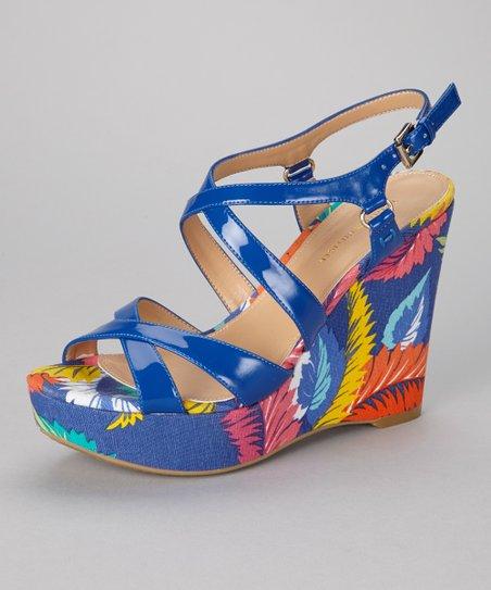 Tommy Hilfiger Blue Leaf Justina Wedge Sandal | Zulily