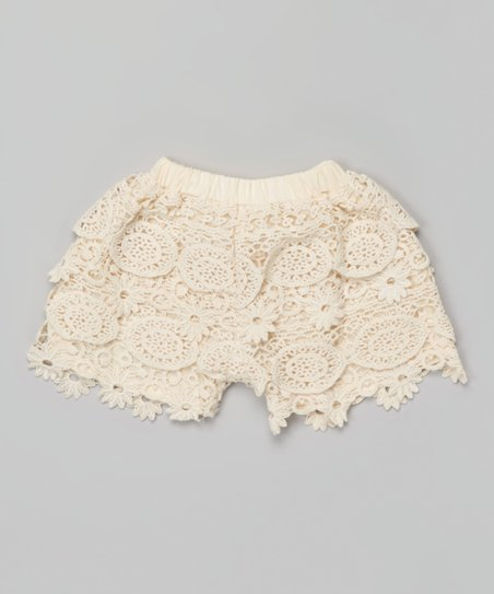Blossom Couture Ivory Crocheted Lace Shorts Toddler Girls Zulily