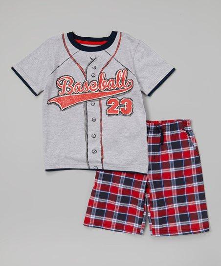 d5bc71da1 love this product Gray 'Baseball' Tee & Red Plaid Shorts - Toddler & Boys