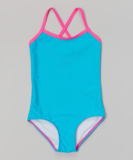 2bc33220d8 Kanu Surf Blue & Pink Mermaid Solid One-Piece - Girls | Zulily