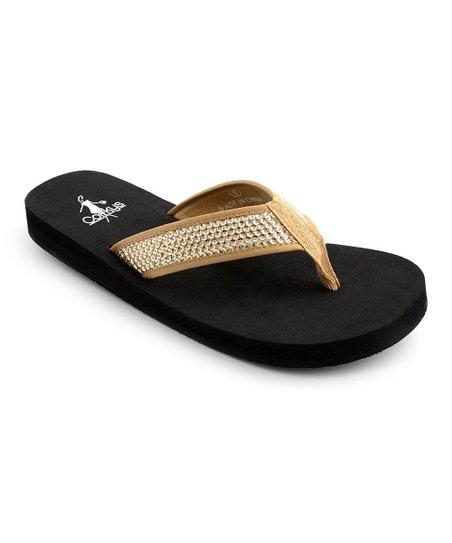 305b1c33d9b5d Corkys Footwear Champagne Rhinestone Flip-Flops