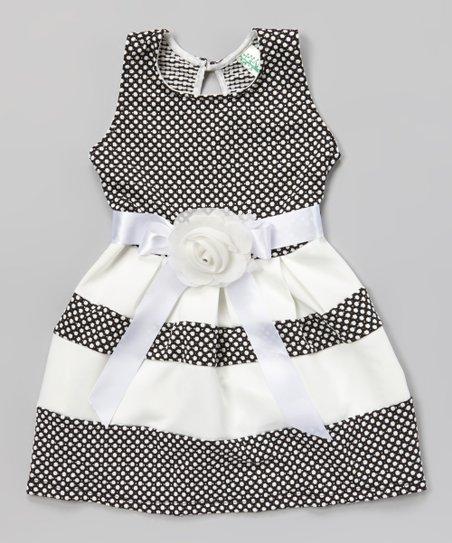 063aaaca9279 Just Kids Black   White Polka Dot Sash Dress - Girls