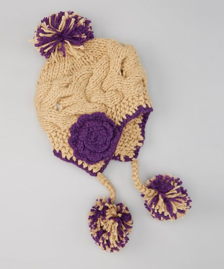 02cac01c42248 love this product Taupe   Purple Pom-Pom Earflap Beanie
