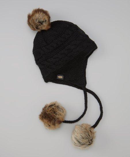 509b1dea8bb58f Mud Pie Black Cable-Knit Earflap Beanie | Zulily