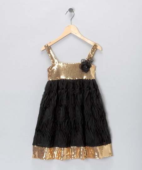 fd8b8983d83f Paulinie Black   Gold Sequin Dress - Toddler