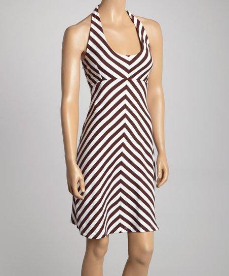 f363cb9025a0 Synergy Organic Clothing Chocolate   White Stripe Halter Dress