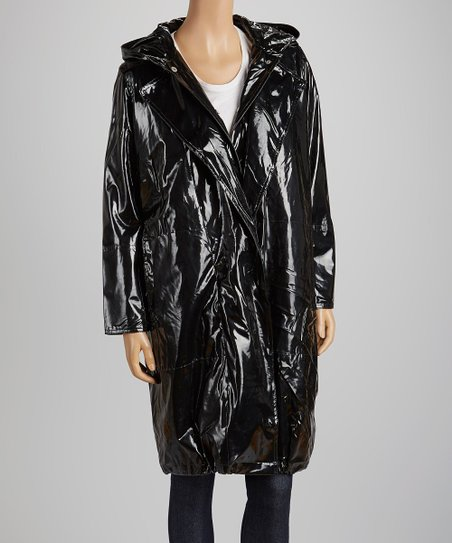 various colors newest style of run shoes Trilogi Black Shiny Hooded Raincoat
