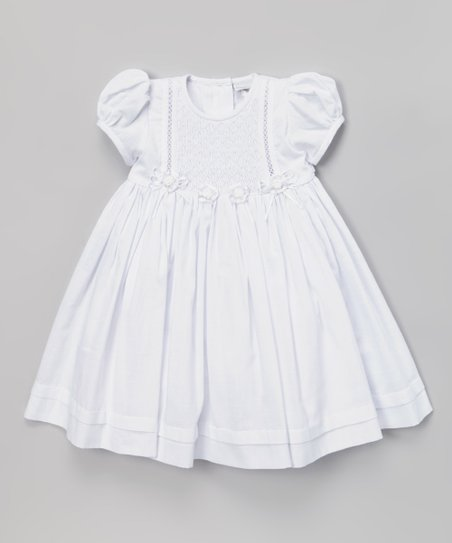SAMSofia White Gabi Smocked Puff-Sleeve Dress - Infant