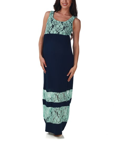 d732557ed825 love this product PinkBlush Navy Blue Lace Color Block Maternity Maxi Dress