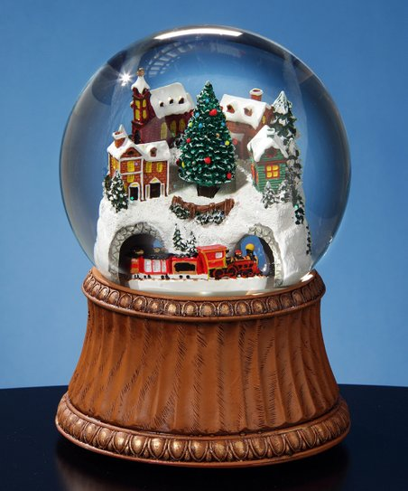 love this product Rotating Train & Mountain Village Musical Water Globe