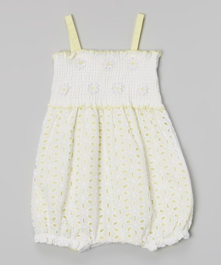 35218e860bf love this product Yellow   White Eyelet Bubble Romper - Infant