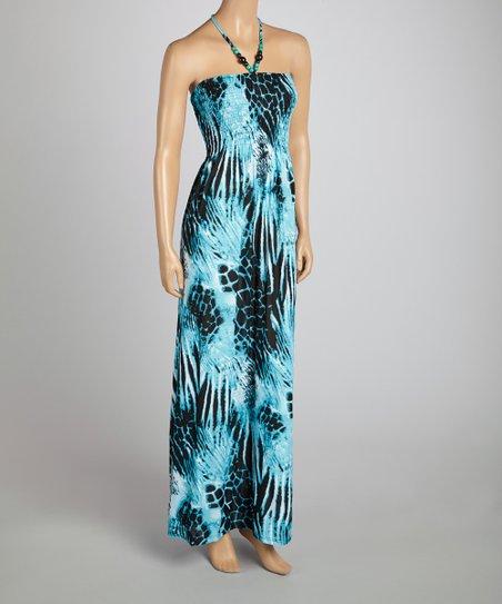 352e987923 India Boutique Turquoise Animal Smocked Maxi Dress