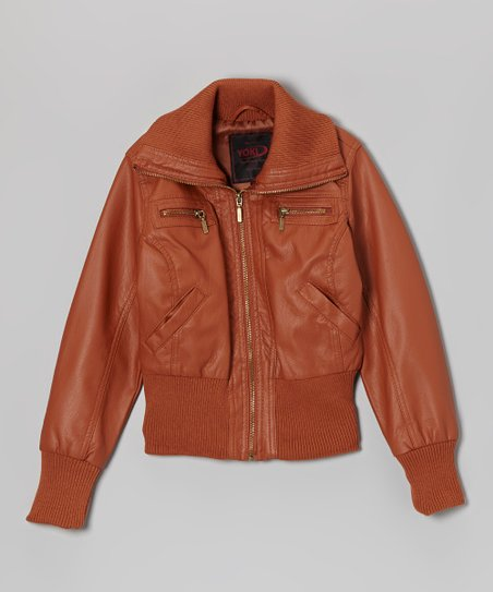 972691442 Cognac Faux Leather Bomber Jacket - Toddler & Girls