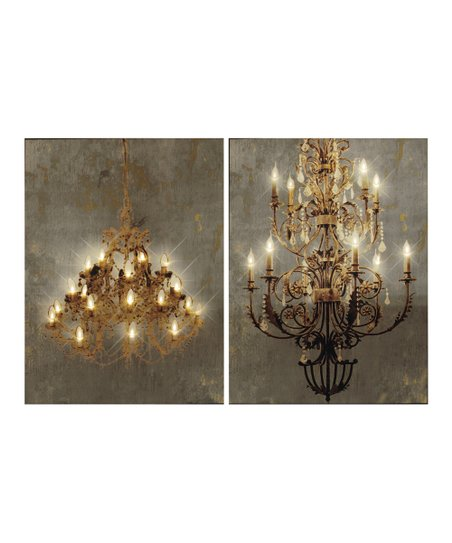 Chandelier Light Up Canvas Wall Art Set Of Two